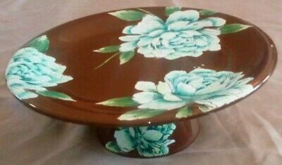 Vintage Hand Painted Large pottery Cake stand