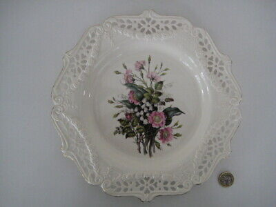 Royal Creamware Pierced Ld Ed Wall Plate The Floral Collection Wild Roses Bradex