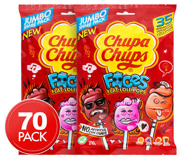 2 x 35pk Chupa Chups Faces Flat Lollipops