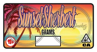 SUNSET SHERBET STRAIN Labels / Cali Stickers - Fits Pop Tops + Mylar Bags &  More