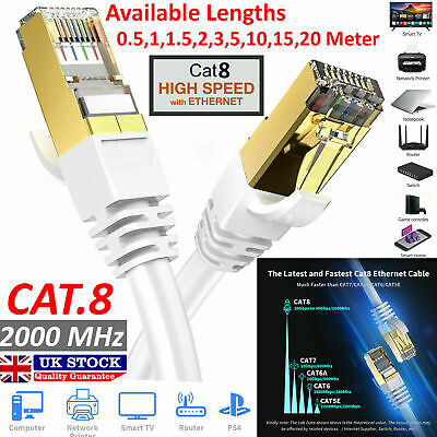 RJ45 CAT8 0.5M-20M Ethernet Network SSTP 40 Gbps Patch Lead Flat Cable Lot