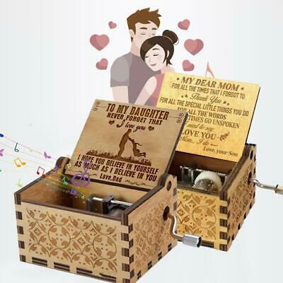 -TO Wife//Son//Mum//DAD//Daughter-Engraved Toy Kid Best Gift Best Wooden Music Box