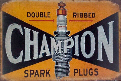 Champion Double Ribbed spark plugs brand new tin metal sign MAN CAVE