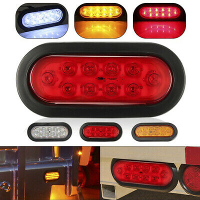 """1pair Sealed 6"""" Oval 10LED Trailer Truck Car Tail Light Rear Stop Turn Lamp MR"""