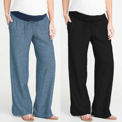 Pregnant Women Plus Size Solid Soft Casual Waist Drawstring Long Pants Trousers