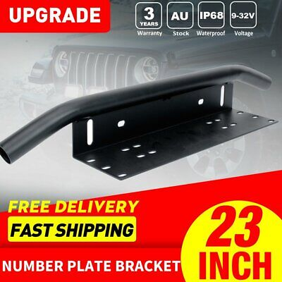 Number Plate Frame Bull Bar Mount Bracket Car Driving Light Bar Holder BLACK