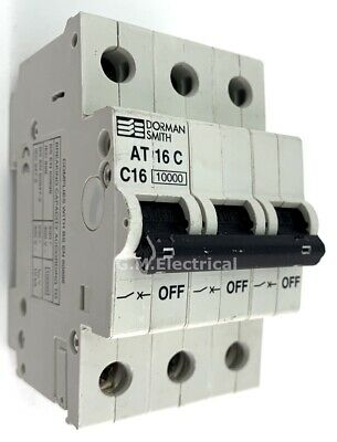 Dorman Smith 16 Amp Type C Triple Pole 3 Phase Mcb Breaker 16A / C16 At16C 10000