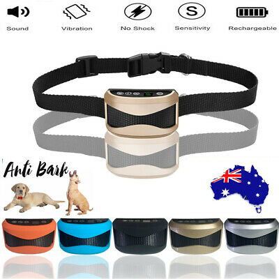 AU Rechargeable Anti Bark No Shock Dog Trainer Stop Barking Pet Training Collars