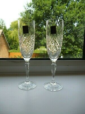 A Pair of Royal Scot Cut Glass Crystal Champagne Flutes/Glasses