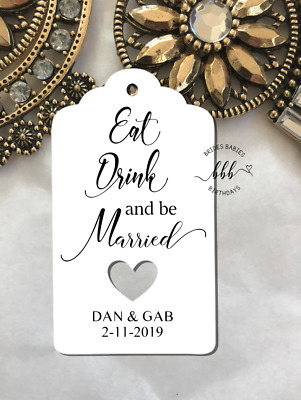 10 White Gift Tags Wedding Favour Bomboniere Personalised Eat Drink be Married
