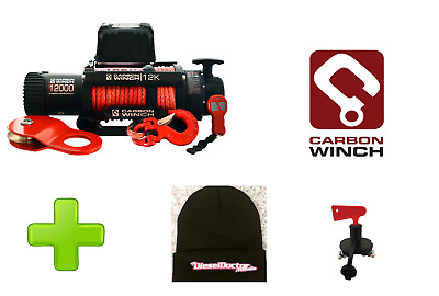 Carbon Winch Australia 12000Lb Electric Winch + Isolator Switch + Doc Beanie