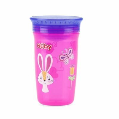 Nuby Active Sipeez 360 Degree Maxi Cup in Pink with Rabbit and butterfly 6m+