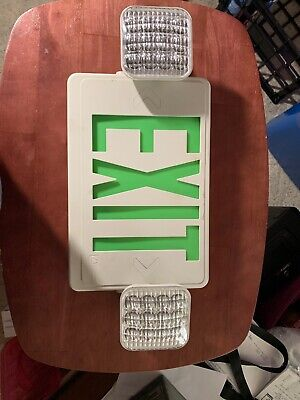 Lithoni Lighting Exit Sign With  Safety Lights. White Box Green EXIT . Pre-owned