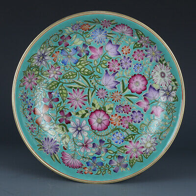 Antique Chinese Porcelain Green Glaze Famille Rose Plate-Flower
