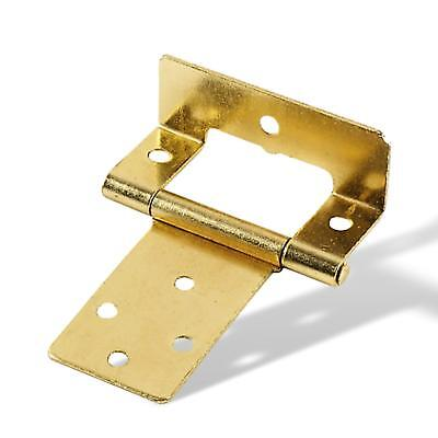 Pair of ELECTRO BRASS PLATED  CRANKED DOOR HINGES 44 x 50mm -CABINET-KITCHEN