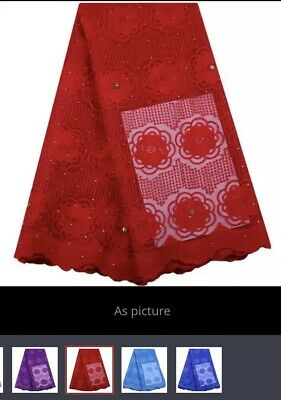 2 YaRds Nigerian French Tulle Lace African Lace Fabric For Party Dress(Red)