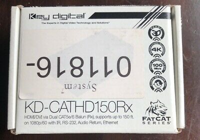 Key Digital KD-CATHD150Rx HDMI Via Dual CAT5e/6 Balun Audio Return Open Box