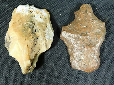 TWO! Big 55,000 to 12,000 Year Old Early Man Aterian Artifacts Algeria! 66.7gr e