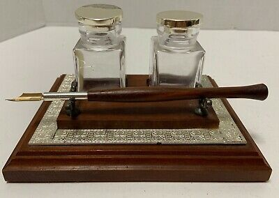 Wood DESK STAND 2 INKWELL Bottles Silvered Lids Wood Pen Art Deco Motif TRIM