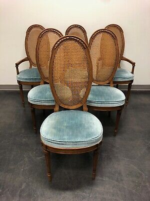 Mid-Century Italian Provincial Walnut Caned Dining Chairs - Set of 6
