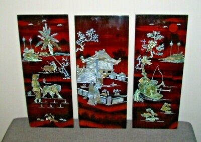 Vintage Three Panel Oriental Wall Hanging with Mother of Pearl Inlay (Asian Art)