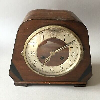 Vintage Foreign Wooden Mantel Clock, Brass Movements