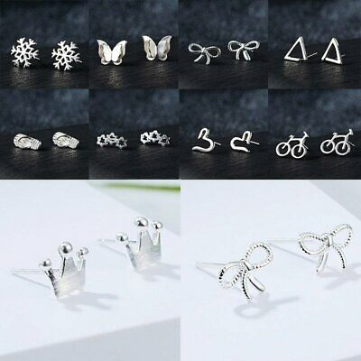 2019 Hot Fashion Women's Girl 925 Silver Sterling Earrings Cute Ear Stud Jewelry