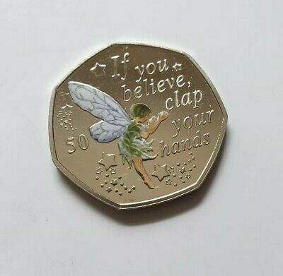 PETER PAN 50p 2019 COIN. TINKERBELL + Coloured Decal.