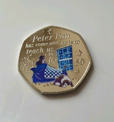 PETER PAN 50p COIN. WENDY & NANNA + Coloured Decal.