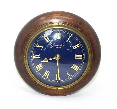 Vintage Good Quality Working Greenoble Of London Wood & Brass Wall Clock