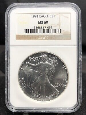 1991 $1 Silver American Eagle NGC MS69 (1594a)