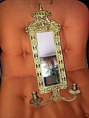 """Vintage Brass Victorian BAROQUE WALL MIRROR Candle Sconce Dolphin 21"""""""