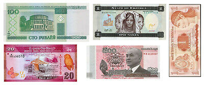 5 World Banknotes all UNC