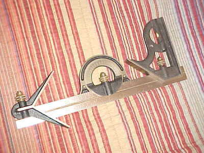 Vintage Combination Set-Square Center Head Protractor-Starrett #12-Used