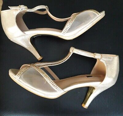 Gold sparkle strappy heels occasion peep toes evening shoes 40