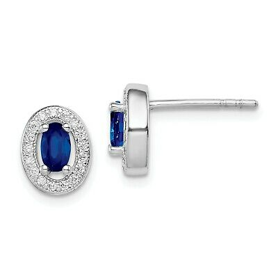 Sterling Silver w/ Blue & White CZ Oval Stud Earrings (9MM x 8MM)