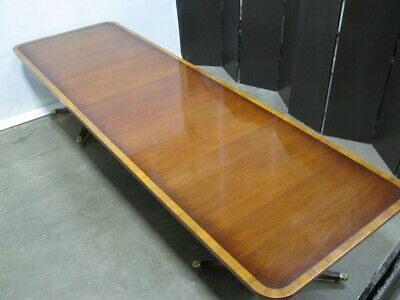 Beautiful English Bevan Funnell Mahogany Pedestal Dining Table; 3 Leaves 1960's