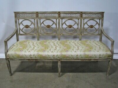 Vintage Italian Custom Made Neoclassic Style Settee; Antiqued Painted Finish 64""