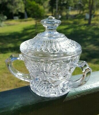 Rare Antique Pressed Glass Bon Bon Dish Lidded 3 Handles - EAPG - Early 1900's