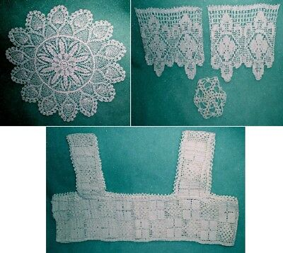 """2 Vintage Hand Crocheted Doily Lot 14"""" + 11"""" CLOSEOUT + Bodice and Pieces LA450"""