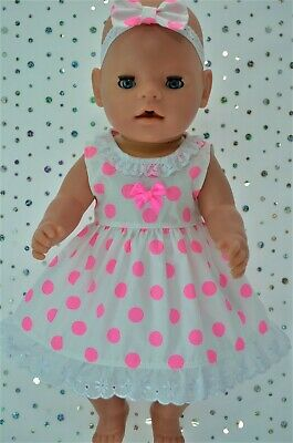 "Play n Wear Dolls Clothes For 17"" Baby Born  FLURO PINK POLKA DOT DRESS~HEADBAND"