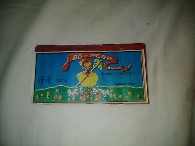 "Vintage Bo-Peep Brand Fireworks pack (Contents still remain) 2 1/2 x 1/2"" 10 pcs"