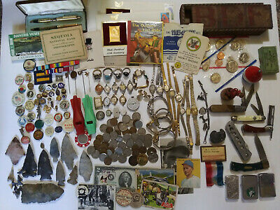 Vintage Antique Junk Drawer Lot Knife Ephemera COINS Arrowheads Knives Lighters