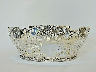 Antique Victorian 1899 Sterling Silver Large Heavy Pierced Bowl Dish Centrepiece