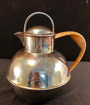 E G Webster & Son Silver Plate Tea Pot With Hemp/Wicker Handle Antique