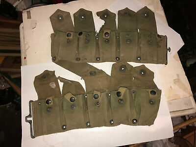 Vintage WWII era U.S. Military canvass 10 pouch ammo / clip belt. FAST S&H