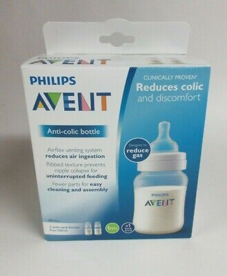 Philips Avent 2-Pack Anti-Colic Baby 9 oz Wide-Neck Clear Bottles 1M+