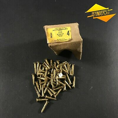 """BOX WITH 65x VINTAGE NETTLEFOLDS BRASS 5/8"""" x 4G  SLOTTED WOOD SCREWS HARDWARE"""