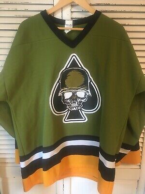 Vintage Soldier Skull Military Helmet Ace Of Spades Logo Hockey Jersey Large