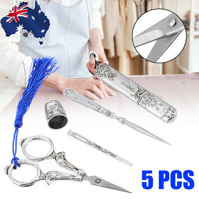 AU 5 IN 1 European Vintage Silver Embroidery Sewing Scissors Thimble Needle Kit